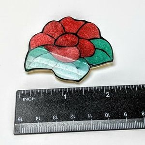 Karla Jordan Handcrafted 2 Inch Red Flower Pin